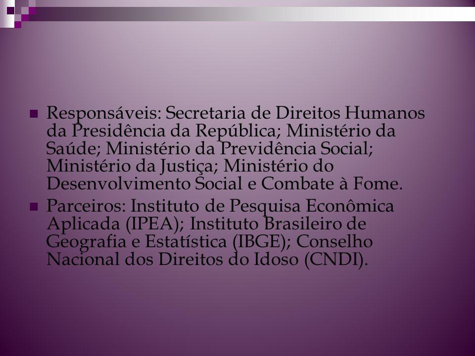 Responsáveis: Secretaria de Direitos Humanos da Presidência da República; Ministério da Saúde; Ministério da Previdência Social; Ministério da Justiça