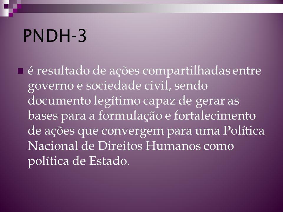 PNDH-3 é resultado de ações compartilhadas entre governo e sociedade civil, sendo documento legítimo capaz de gerar as bases para a formulação e forta