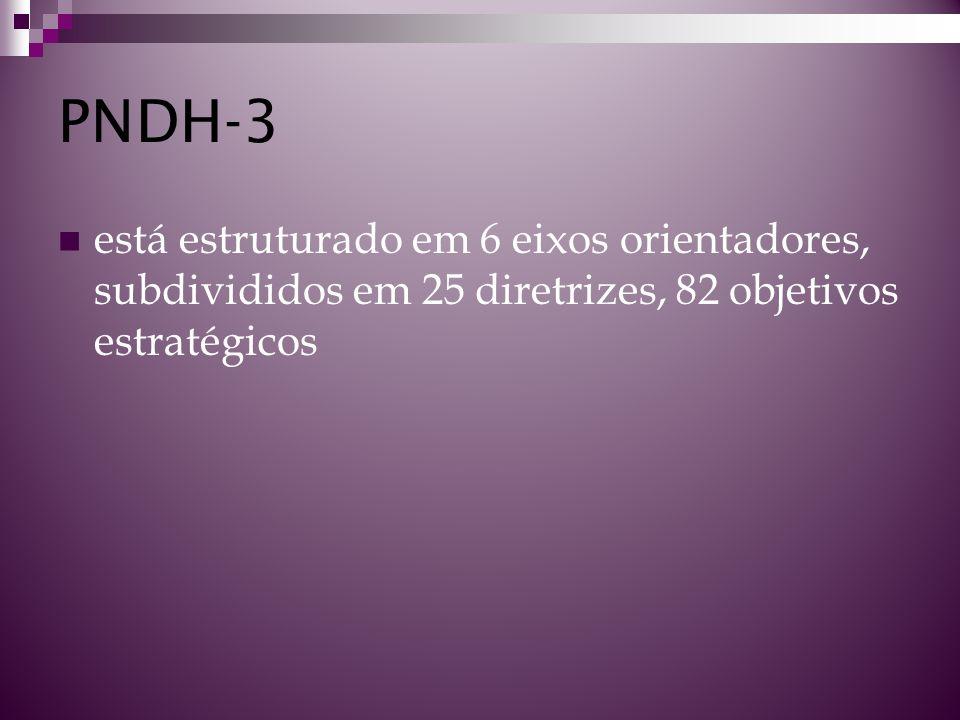 PNDH-3 está estruturado em 6 eixos orientadores, subdivididos em 25 diretrizes, 82 objetivos estratégicos
