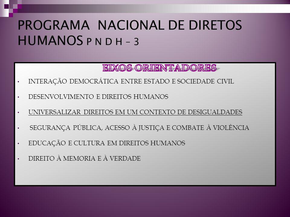 PROGRAMA NACIONAL DE DIRETOS HUMANOS P N D H – 3