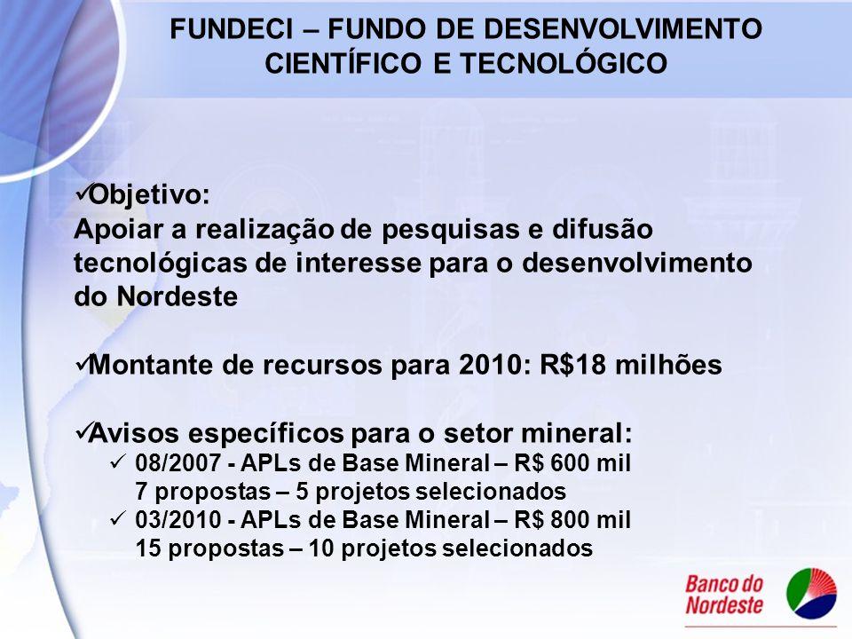 Objetivo: Apoiar a realização de pesquisas e difusão tecnológicas de interesse para o desenvolvimento do Nordeste Montante de recursos para 2010: R$18 milhões Avisos específicos para o setor mineral: 08/2007 - APLs de Base Mineral – R$ 600 mil 7 propostas – 5 projetos selecionados 03/2010 - APLs de Base Mineral – R$ 800 mil 15 propostas – 10 projetos selecionados FUNDECI – FUNDO DE DESENVOLVIMENTO CIENTÍFICO E TECNOLÓGICO