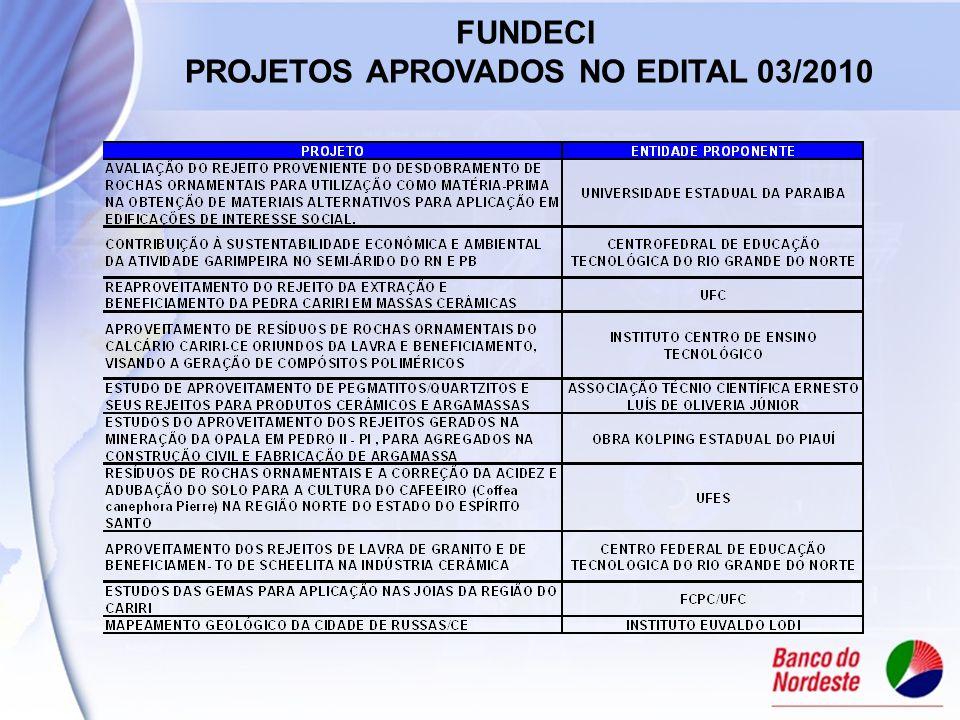 FUNDECI PROJETOS APROVADOS NO EDITAL 03/2010