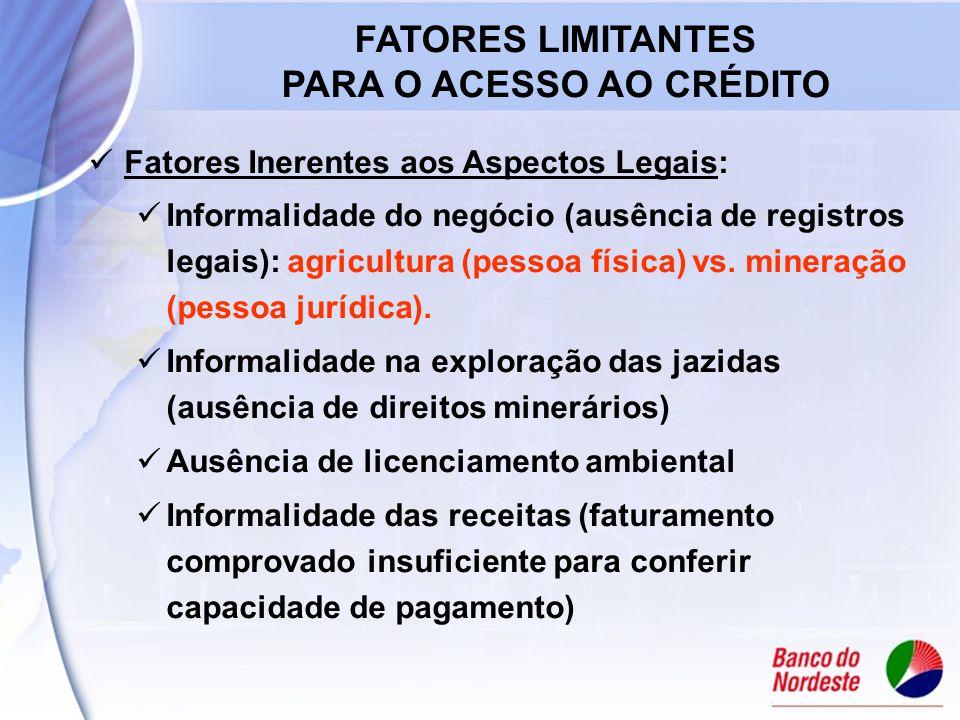 Fatores Inerentes aos Aspectos Legais: Informalidade do negócio (ausência de registros legais): agricultura (pessoa física) vs.
