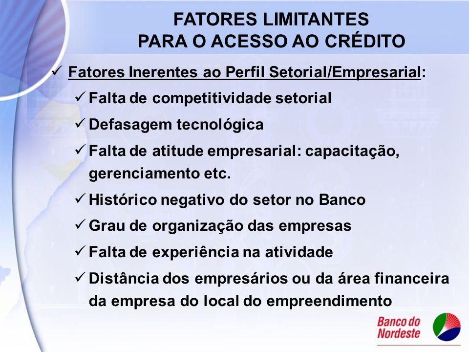Fatores Inerentes ao Perfil Setorial/Empresarial: Falta de competitividade setorial Defasagem tecnológica Falta de atitude empresarial: capacitação, gerenciamento etc.