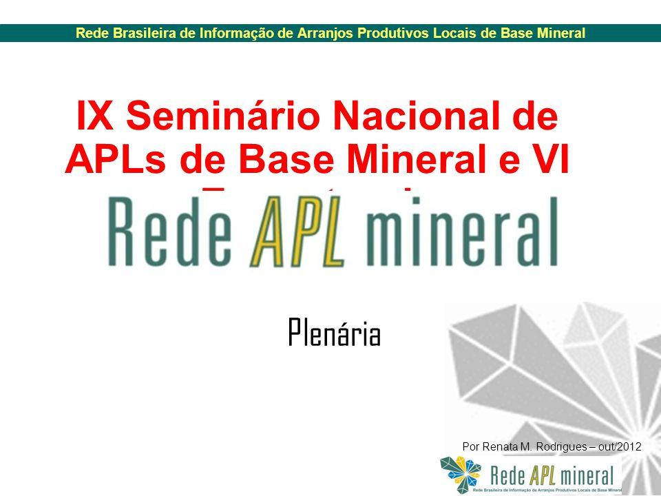 Rede Brasileira de Informação de Arranjos Produtivos Locais de Base Mineral Por Renata M.