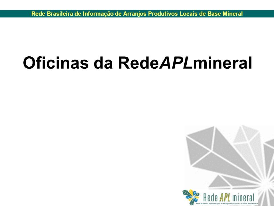 Rede Brasileira de Informação de Arranjos Produtivos Locais de Base Mineral Oficinas da RedeAPLmineral