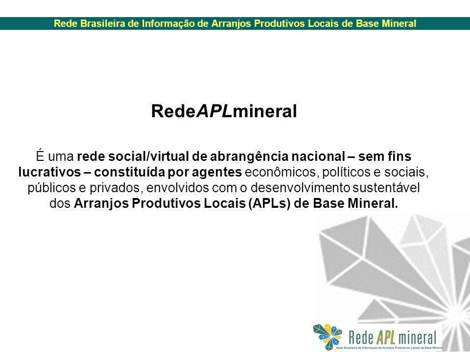 Rede Brasileira de Informação de Arranjos Produtivos Locais de Base Mineral RedeAPLmineral É uma rede social/virtual de abrangência nacional – sem fins lucrativos – constituída por agentes econômicos, políticos e sociais, públicos e privados, envolvidos com o desenvolvimento sustentável dos Arranjos Produtivos Locais (APLs) de Base Mineral.