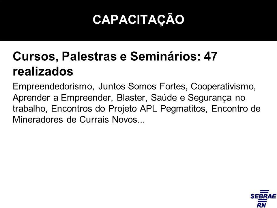 CAPACITAÇÃO Cursos, Palestras e Seminários: 47 realizados Empreendedorismo, Juntos Somos Fortes, Cooperativismo, Aprender a Empreender, Blaster, Saúde