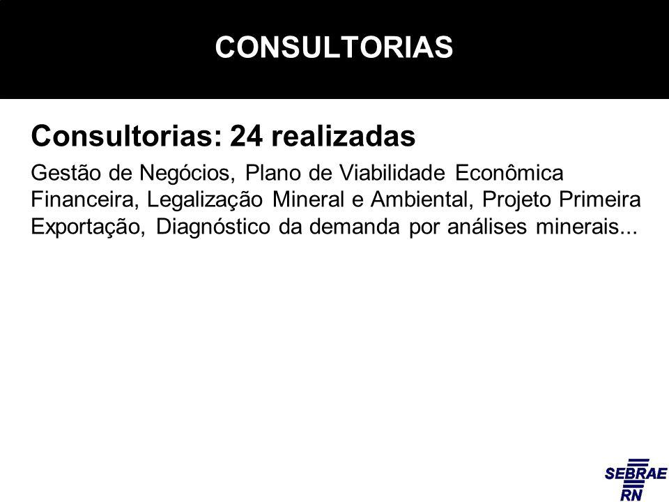 CONSULTORIAS Consultorias: 24 realizadas Gestão de Negócios, Plano de Viabilidade Econômica Financeira, Legalização Mineral e Ambiental, Projeto Primeira Exportação, Diagnóstico da demanda por análises minerais...