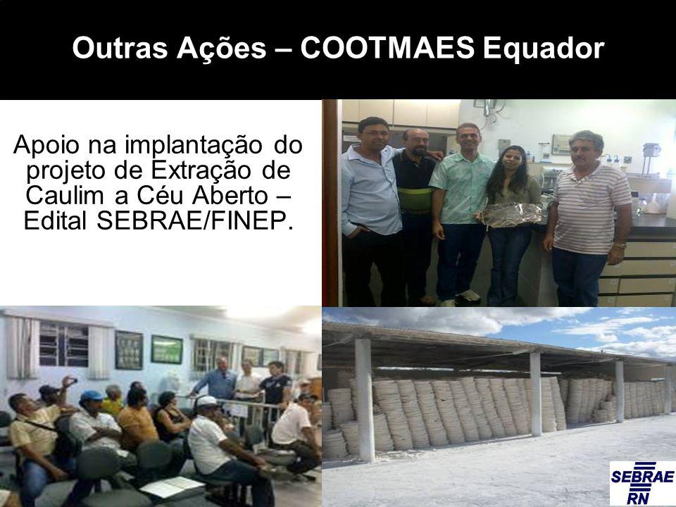 Outras Ações – COOTMAES Equador Apoio na implantação do projeto de Extração de Caulim a Céu Aberto – Edital SEBRAE/FINEP.