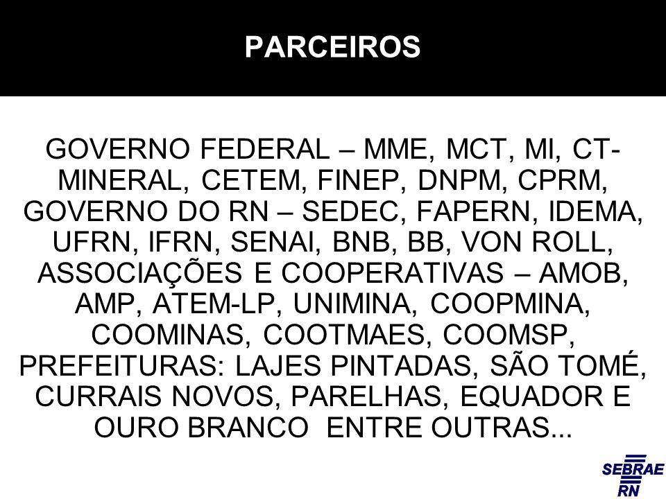 PARCEIROS GOVERNO FEDERAL – MME, MCT, MI, CT- MINERAL, CETEM, FINEP, DNPM, CPRM, GOVERNO DO RN – SEDEC, FAPERN, IDEMA, UFRN, IFRN, SENAI, BNB, BB, VON