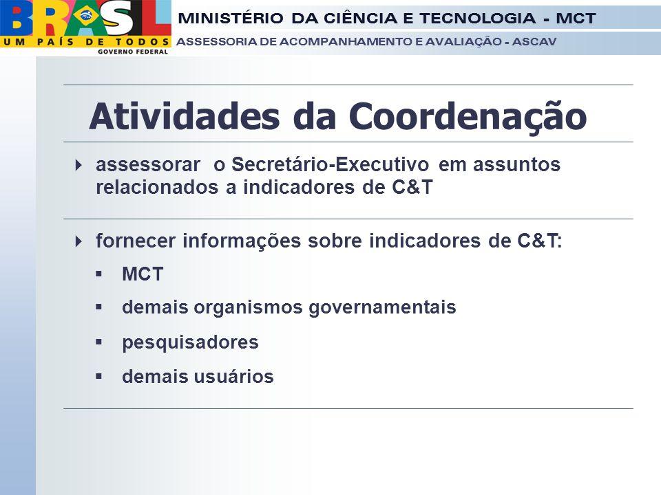 MINISTÉRIO DA CIÊNCIA E TECNOLOGIA - MCT ASSESSORIA DE ACOMPANHAMENTO E AVALIAÇÃO - ASCAV Atividades da Coordenação  fornecer informações sobre indic