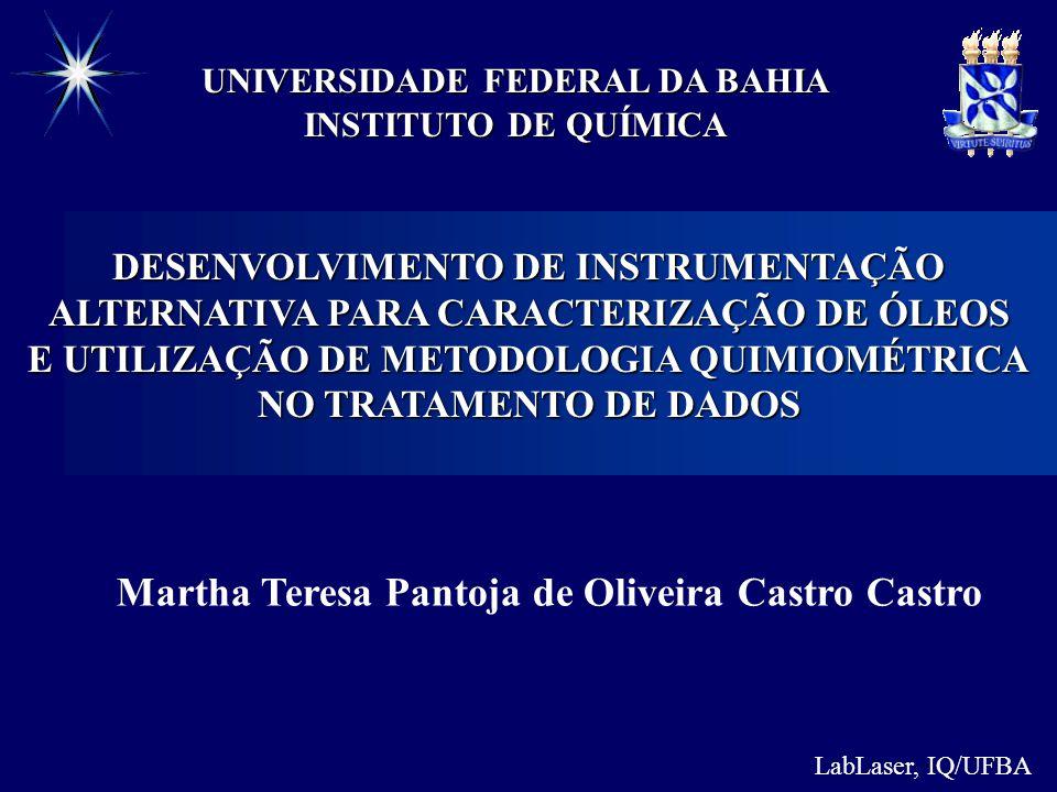 LabLaser, IQ/UFBA INSTITUTO DE QUÍMICA UNIVERSIDADE FEDERAL DA BAHIA DESENVOLVIMENTO DE INSTRUMENTAÇÃO ALTERNATIVA PARA CARACTERIZAÇÃO DE ÓLEOS E UTILIZAÇÃO DE METODOLOGIA QUIMIOMÉTRICA NO TRATAMENTO DE DADOS Martha Teresa Pantoja de Oliveira Castro Castro