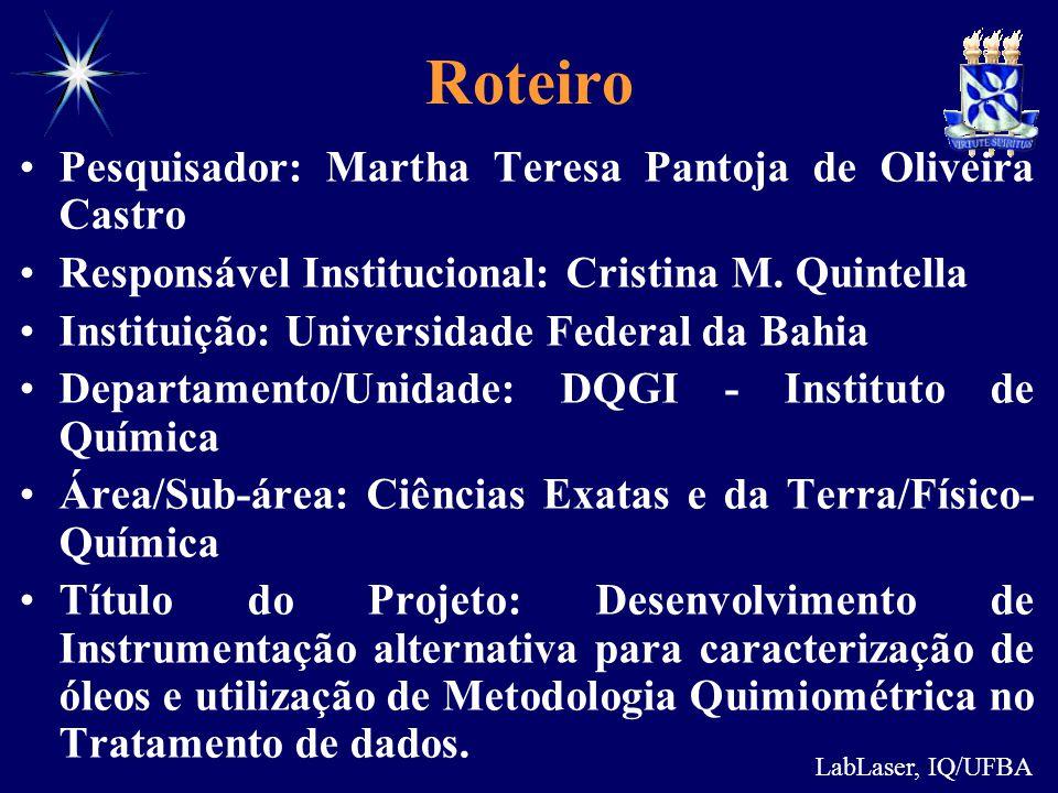 LabLaser, IQ/UFBA Roteiro Pesquisador: Martha Teresa Pantoja de Oliveira Castro Responsável Institucional: Cristina M. Quintella Instituição: Universi