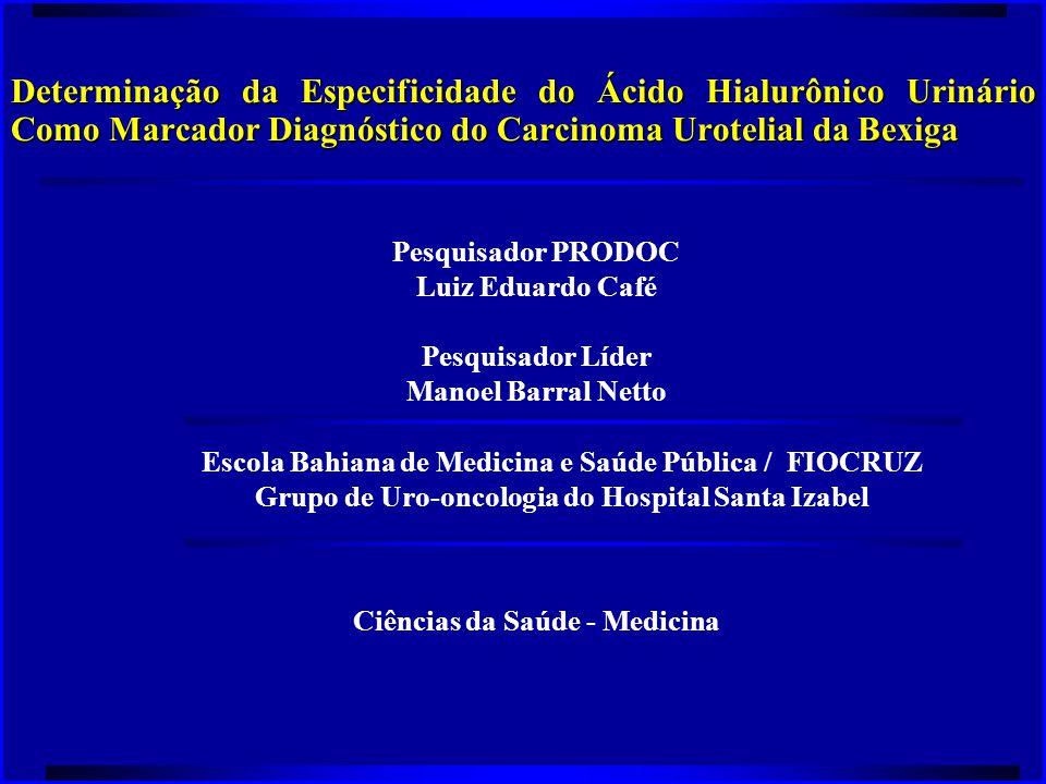 Objetivos do Projeto  Determinar a especificidade da dosagem do ácido hialurônico urinário como um método diagnóstico em pacientes com risco aumentado para o carcinoma urotelial de bexiga.