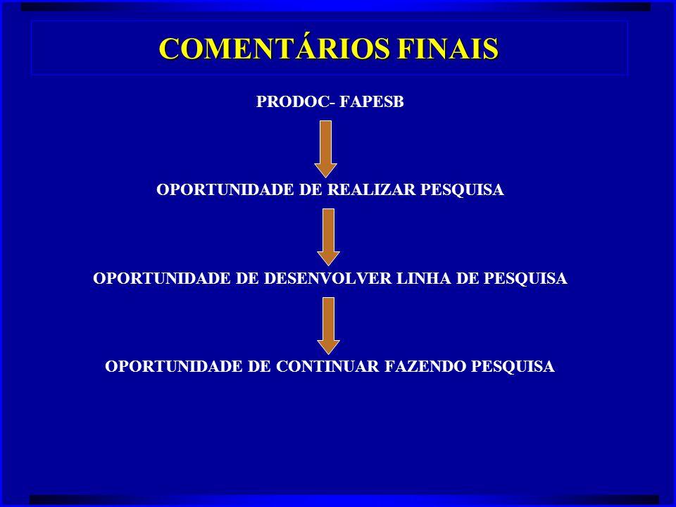 COMENTÁRIOS FINAIS PRODOC- FAPESB OPORTUNIDADE DE REALIZAR PESQUISA OPORTUNIDADE DE DESENVOLVER LINHA DE PESQUISA OPORTUNIDADE DE CONTINUAR FAZENDO PE