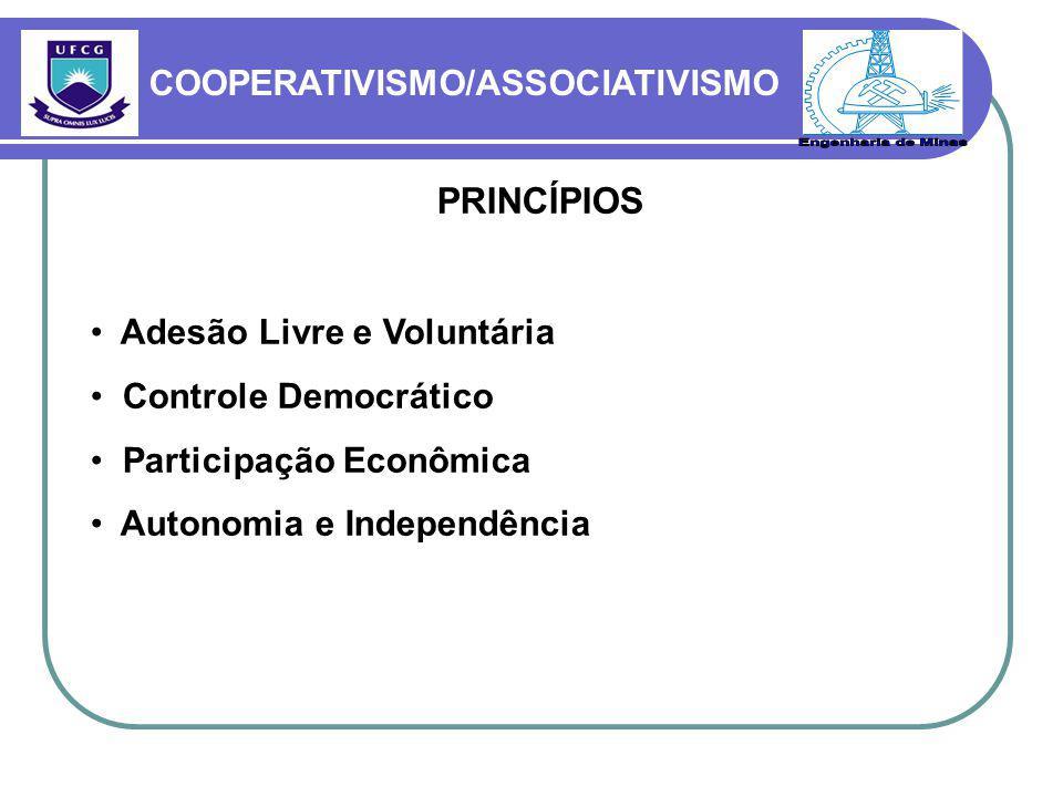 PRINCÍPIOS Adesão Livre e Voluntária Controle Democrático Participação Econômica Autonomia e Independência COOPERATIVISMO/ASSOCIATIVISMO