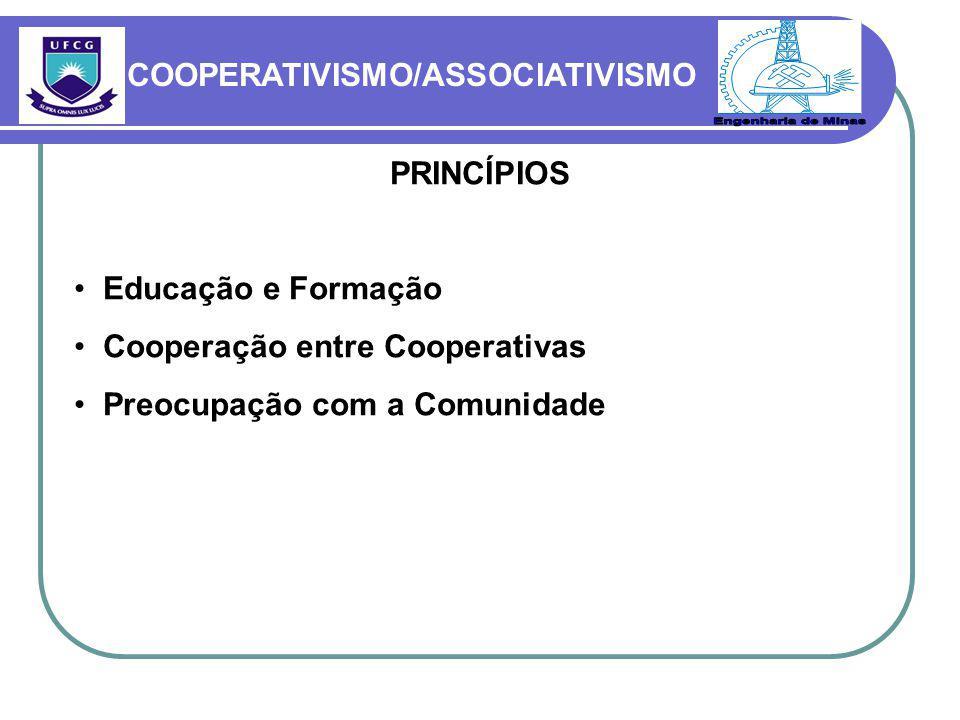 PRINCÍPIOS Educação e Formação Cooperação entre Cooperativas Preocupação com a Comunidade COOPERATIVISMO/ASSOCIATIVISMO