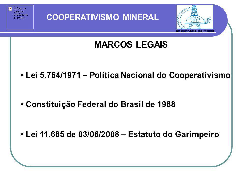COOPERATIVISMO MINERAL MARCOS LEGAIS Lei 5.764/1971 – Política Nacional do Cooperativismo Constituição Federal do Brasil de 1988 Lei 11.685 de 03/06/2