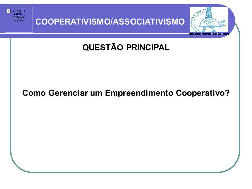 COOPERATIVISMO/ASSOCIATIVISMO QUESTÃO PRINCIPAL Como Gerenciar um Empreendimento Cooperativo?