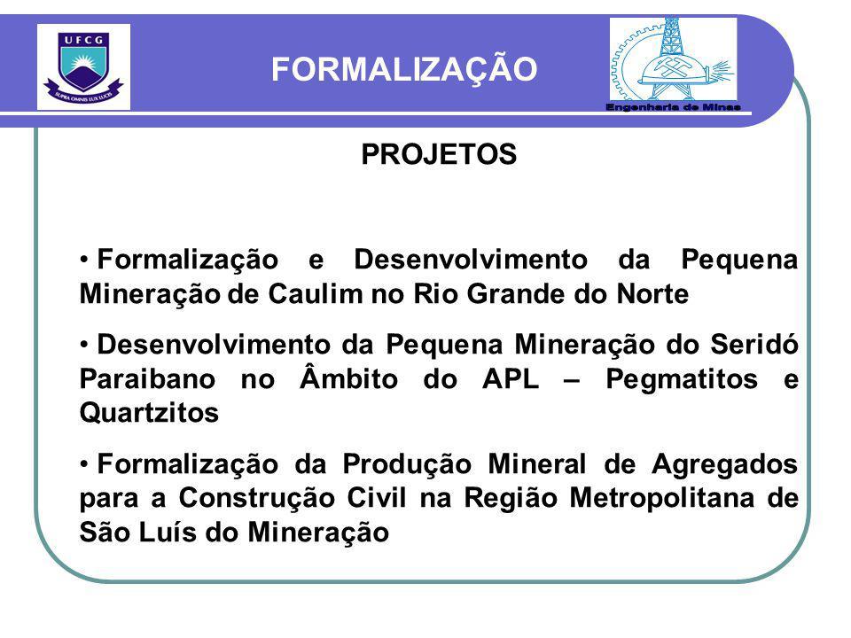 PROJETOS Formalização e Desenvolvimento da Pequena Mineração de Caulim no Rio Grande do Norte Desenvolvimento da Pequena Mineração do Seridó Paraibano no Âmbito do APL – Pegmatitos e Quartzitos Formalização da Produção Mineral de Agregados para a Construção Civil na Região Metropolitana de São Luís do Mineração FORMALIZAÇÃO