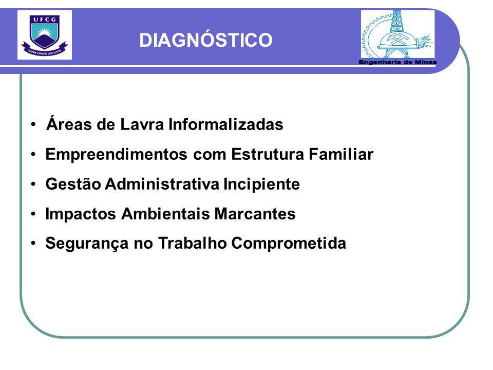 Áreas de Lavra Informalizadas Empreendimentos com Estrutura Familiar Gestão Administrativa Incipiente Impactos Ambientais Marcantes Segurança no Trabalho Comprometida DIAGNÓSTICO