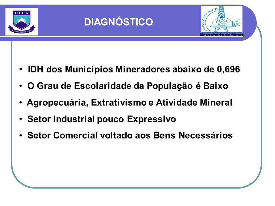IDH dos Municípios Mineradores abaixo de 0,696 O Grau de Escolaridade da População é Baixo Agropecuária, Extrativismo e Atividade Mineral Setor lndustrial pouco Expressivo Setor Comercial voltado aos Bens Necessários DIAGNÓSTICO