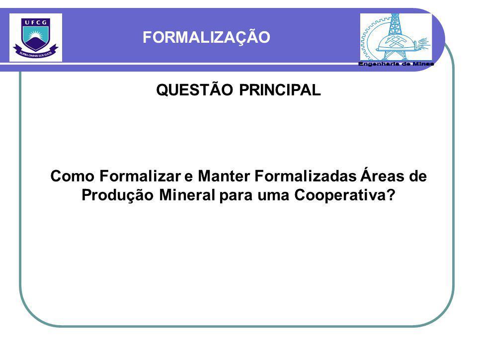 FORMALIZAÇÃO QUESTÃO PRINCIPAL Como Formalizar e Manter Formalizadas Áreas de Produção Mineral para uma Cooperativa?