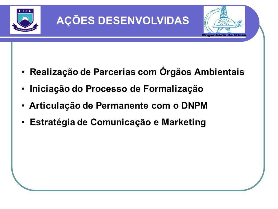 Realização de Parcerias com Órgãos Ambientais Iniciação do Processo de Formalização Articulação de Permanente com o DNPM Estratégia de Comunicação e Marketing AÇÕES DESENVOLVIDAS