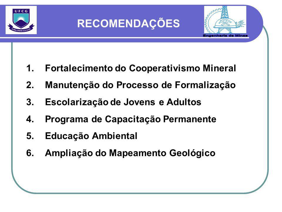 1.Fortalecimento do Cooperativismo Mineral 2.Manutenção do Processo de Formalização 3.Escolarização de Jovens e Adultos 4.Programa de Capacitação Permanente 5.Educação Ambiental 6.Ampliação do Mapeamento Geológico RECOMENDAÇÕES