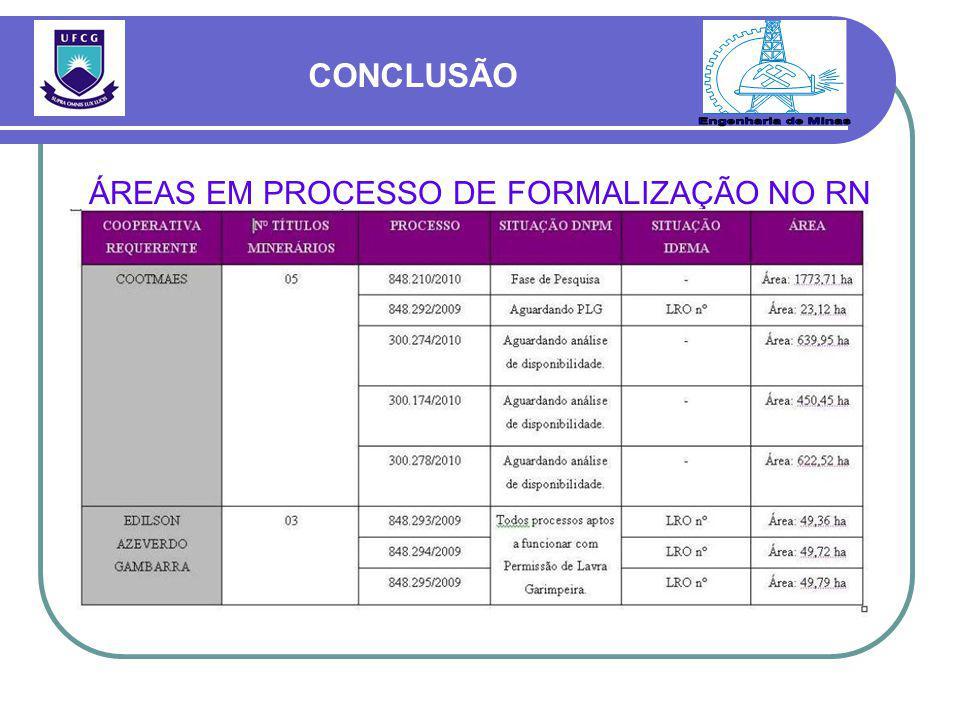 ÁREAS EM PROCESSO DE FORMALIZAÇÃO NO RN CONCLUSÃO