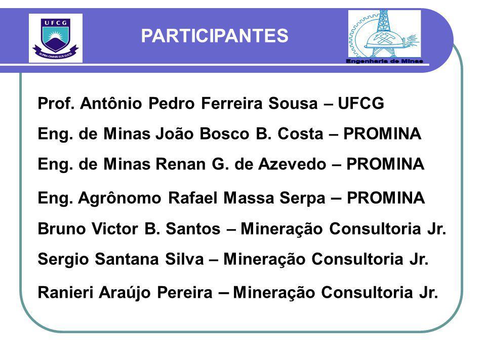 Prof. Antônio Pedro Ferreira Sousa – UFCG Eng. de Minas João Bosco B. Costa – PROMINA Eng. de Minas Renan G. de Azevedo – PROMINA Eng. Agrônomo Rafael