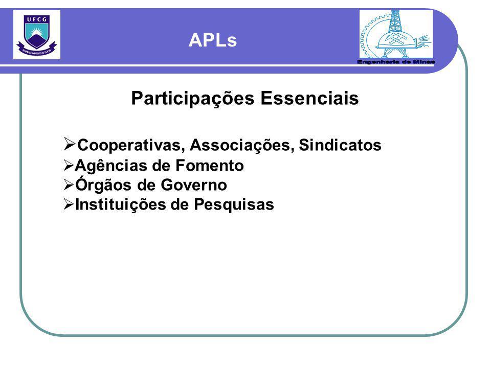 APLs Participações Essenciais  Cooperativas, Associações, Sindicatos  Agências de Fomento  Órgãos de Governo  Instituições de Pesquisas