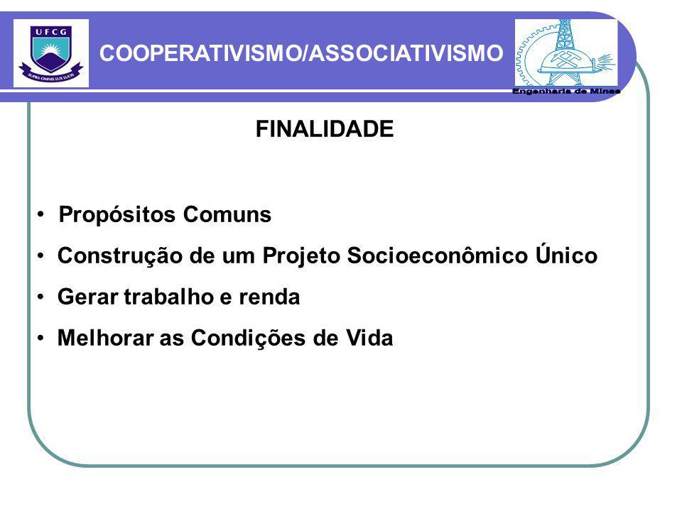 COOPERATIVISMO/ASSOCIATIVISMO FINALIDADE Propósitos Comuns Construção de um Projeto Socioeconômico Único Gerar trabalho e renda Melhorar as Condições de Vida