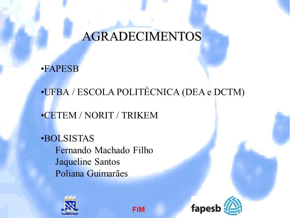 AGRADECIMENTOS FAPESB UFBA / ESCOLA POLITÉCNICA (DEA e DCTM) CETEM / NORIT / TRIKEM BOLSISTAS Fernando Machado Filho Jaqueline Santos Poliana Guimarãe