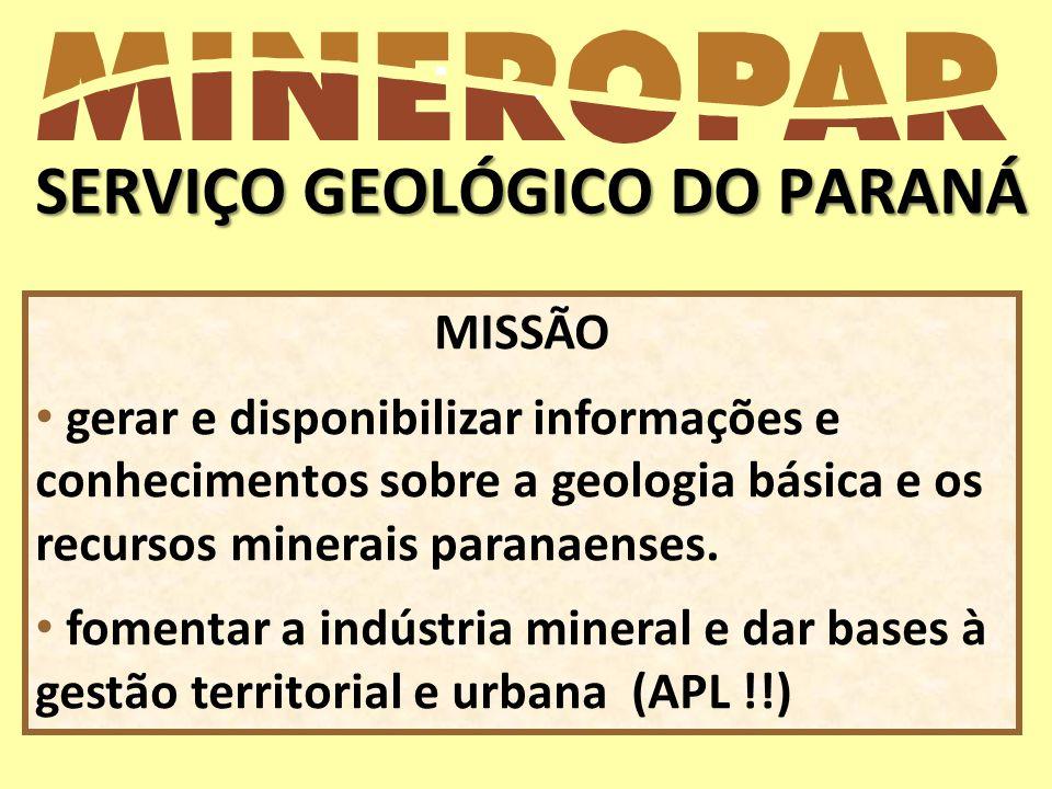 SERVIÇO GEOLÓGICO DO PARANÁ MISSÃO gerar e disponibilizar informações e conhecimentos sobre a geologia básica e os recursos minerais paranaenses. fome