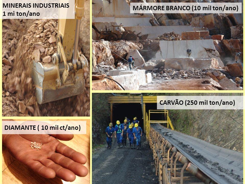 MÁRMORE BRANCO (10 mil ton/ano) CARVÃO (250 mil ton/ano) MINERAIS INDUSTRIAIS 1 mi ton/ano DIAMANTE ( 10 mil ct/ano)