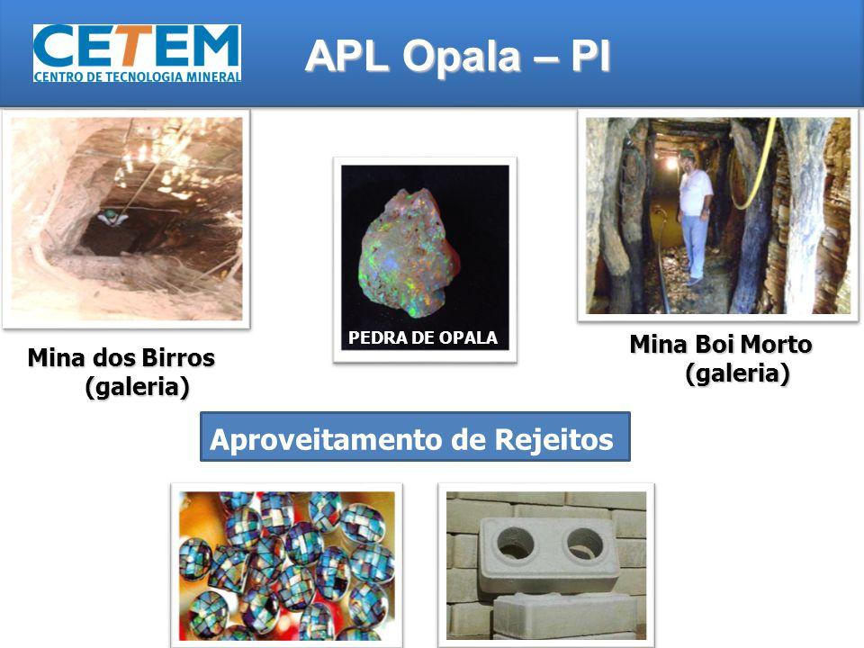 Mina dos Birros (galeria) APL Opala – PI Mina Boi Morto (galeria) Aproveitamento de Rejeitos PEDRA DE OPALA