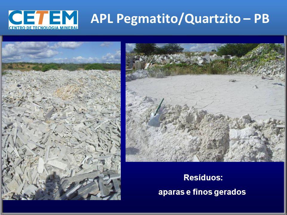 Resíduos: aparas e finos gerados APL Pegmatito/Quartzito – PB