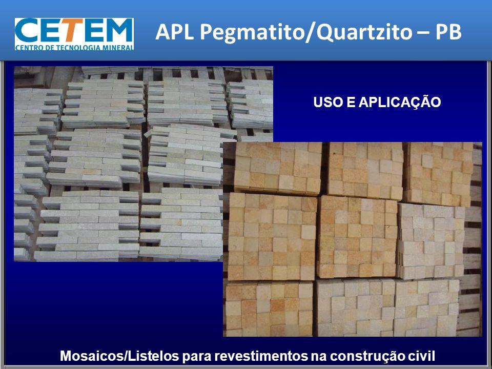 USO E APLICAÇÃO Mosaicos/Listelos para revestimentos na construção civil APL Pegmatito/Quartzito – PB