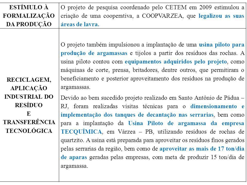 ESTÍMULO À FORMALIZAÇÃO DA PRODUÇÃO O projeto de pesquisa coordenado pelo CETEM em 2009 estimulou a criação de uma cooperativa, a COOPVARZEA, que lega