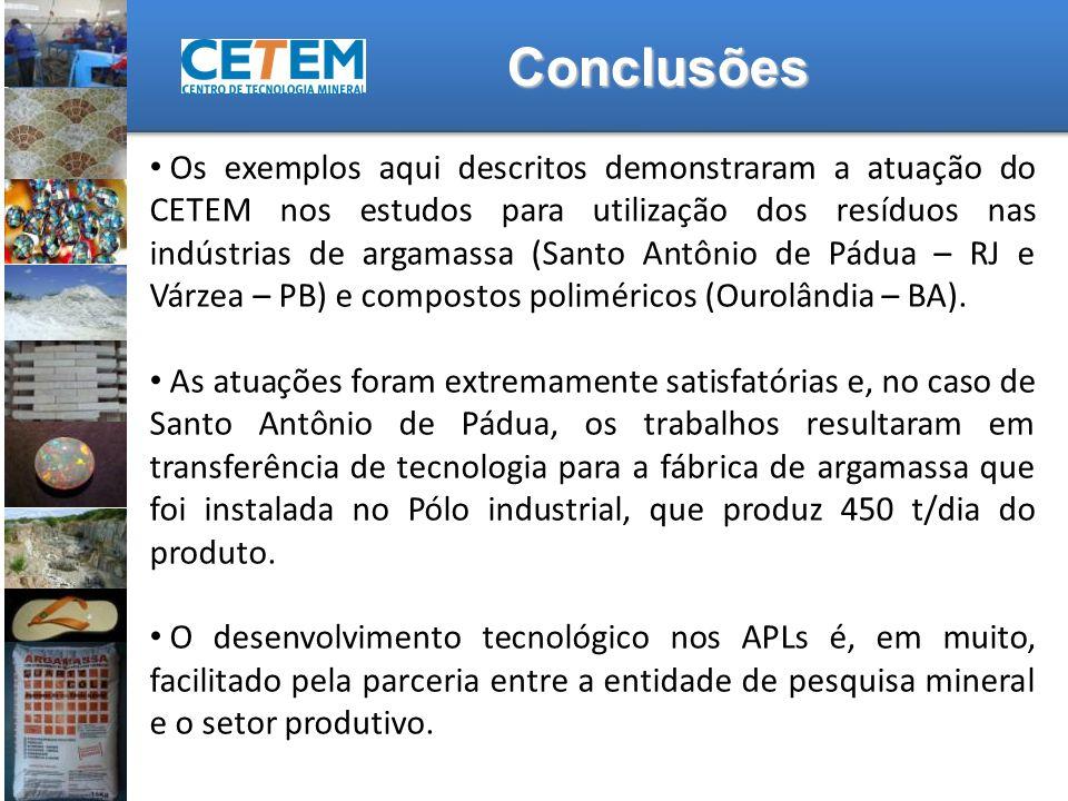 Os exemplos aqui descritos demonstraram a atuação do CETEM nos estudos para utilização dos resíduos nas indústrias de argamassa (Santo Antônio de Pádu