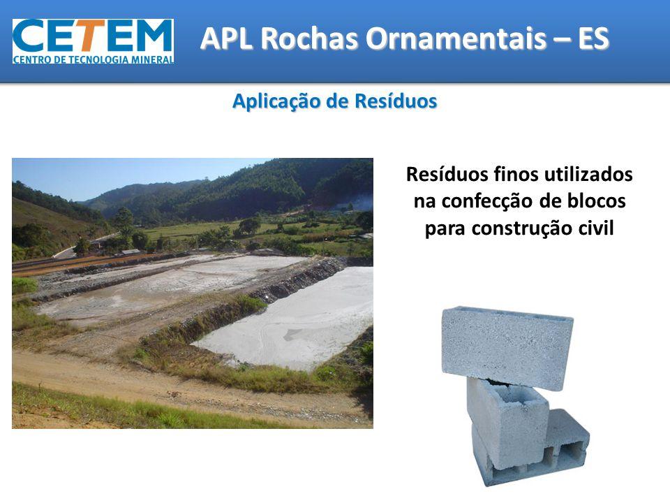 Aplicação de Resíduos Resíduos finos utilizados na confecção de blocos para construção civil APL Rochas Ornamentais – ES