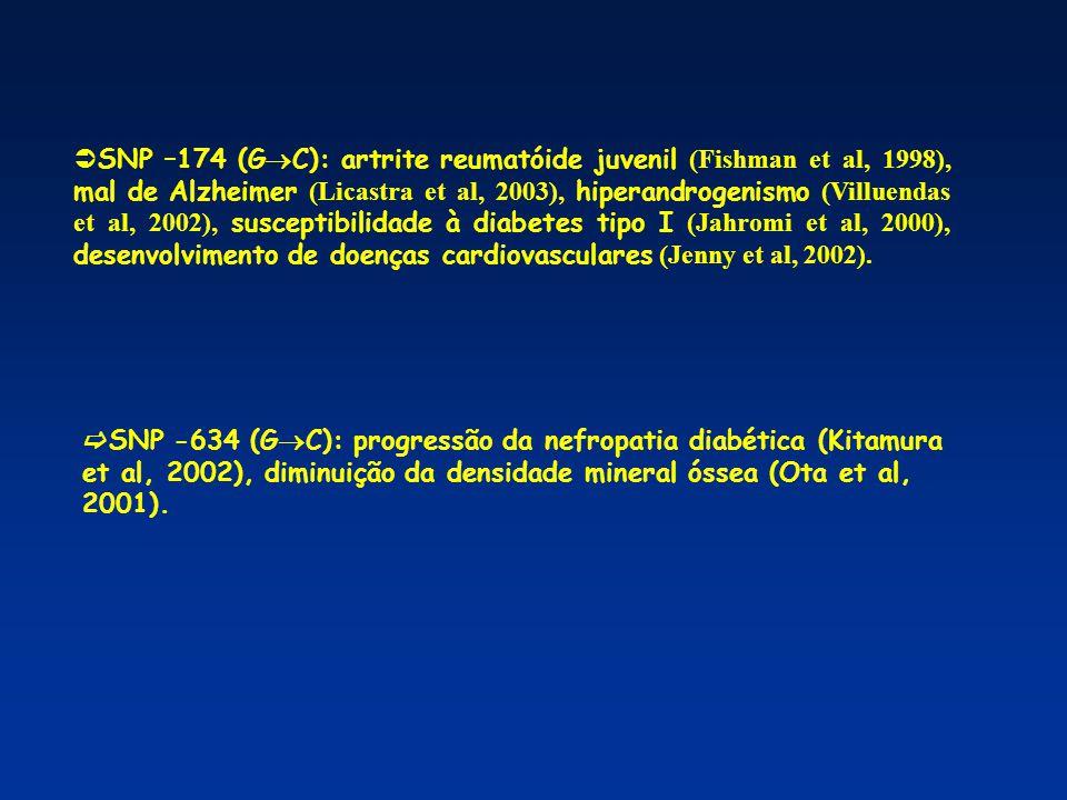 Ø Polimorfismos nos promotores de IL-6 X Pacientes infectados com HTLV-I Ø População do Japão Ødiferença na distribuição do polimorfismo no promotor de IL-6 na posição –634 entre indivíduos HTLV-I positivos, assintomáticos e com HAM/TSP (Nishimura e cols, 2002).