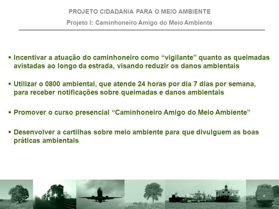 Projeto I: Caminhoneiro Amigo do Meio Ambiente Objetivo Envolver o caminhoneiro na proteção do meio ambiente