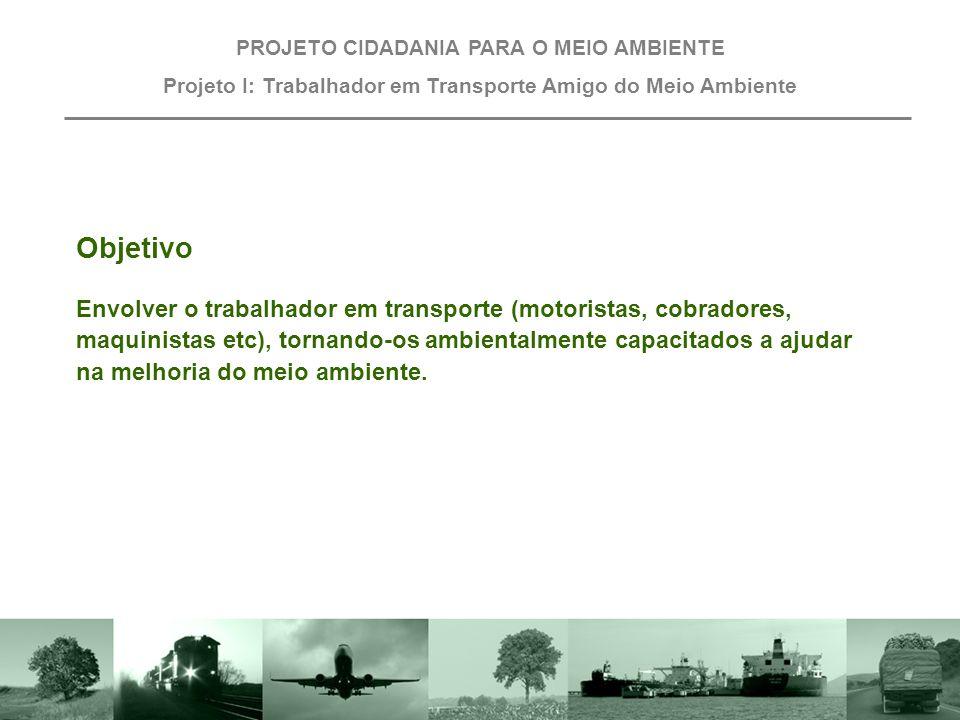 """Projeto III: Trabalhador em Transporte """"Amigo do Meio Ambiente"""" PROJETO CIDADANIA PARA O MEIO AMBIENTE"""