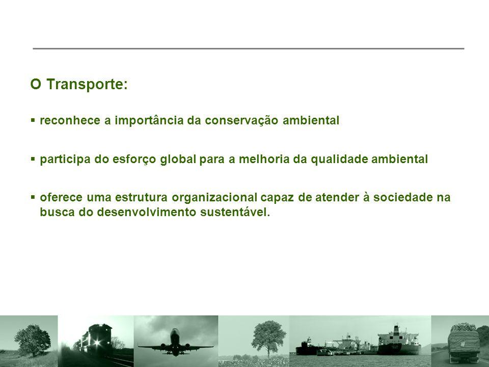 O Transporte:  participa do esforço global para a melhoria da qualidade ambiental  reconhece a importância da conservação ambiental  oferece uma estrutura organizacional capaz de atender à sociedade na busca do desenvolvimento sustentável.