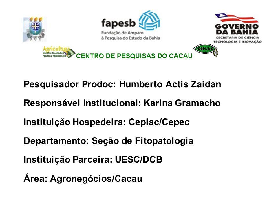 Pesquisador Prodoc: Humberto Actis Zaidan Responsável Institucional: Karina Gramacho Instituição Hospedeira: Ceplac/Cepec Departamento: Seção de Fitop