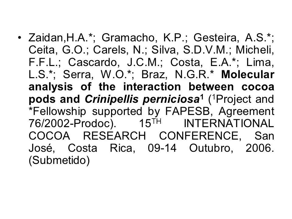 Zaidan,H.A.*; Gramacho, K.P.; Gesteira, A.S.*; Ceita, G.O.; Carels, N.; Silva, S.D.V.M.; Micheli, F.F.L.; Cascardo, J.C.M.; Costa, E.A.*; Lima, L.S.*;