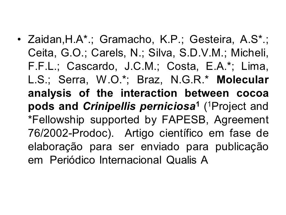 Zaidan,H.A*.; Gramacho, K.P.; Gesteira, A.S*.; Ceita, G.O.; Carels, N.; Silva, S.D.V.M.; Micheli, F.F.L.; Cascardo, J.C.M.; Costa, E.A.*; Lima, L.S.;